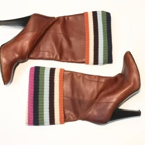 ** Coach ** heeled boots with rainbow sweater cuff